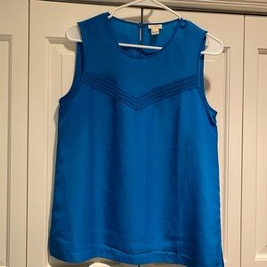 J crew collar blue top with laser cut detail